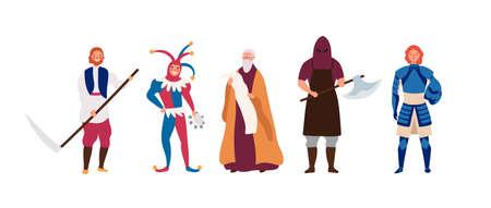Ensemble d'illustrations vectorielles à plat de personnages masculins médiévaux. Bourreau de bande dessinée, paysan, héraut, brave chevalier et joyeux bouffon. Costumes de mascarade, personnages historiques isolés sur fond blanc.