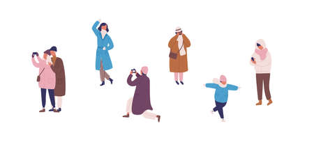 Photographing people in warm clothes flat vector illustrations set. Male and female faceless characters taking photos. Selfie posing. Winter season outdoor activity. Family rest, friendly walk.