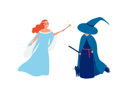 Fairy and sorceress flat vector illustration. Young smiling girl with magic stick and angry witch cartoon characters. Good and evil battle concept. Female magicians isolated on white background. Ilustração