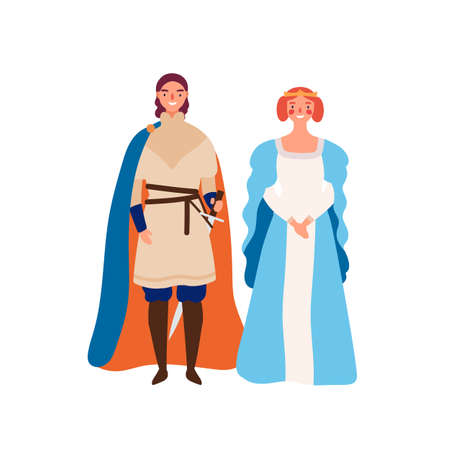 Royal couple flat vector illustration. Medieval king and queen cartoon characters. Prince and his lady isolated on white. Kingdom rulers. Sovereign with damsel. Fairytale, historical personages Ilustração