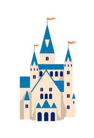 Medieval castle flat vector illustration. Cartoon fairytale fortress. Princess residence, royal palace isolated on white background. Stronghold with towers, building facade, historical architecture.
