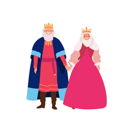 Royal family flat vector illustration. Smiling medieval queen and king in historical costumes cartoon characters. Kingdom rulers, monarchy couple isolated on white background. Emperor and empress.