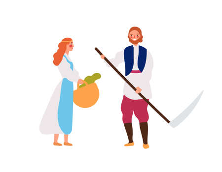 Medieval peasant family flat vector illustration. Rustic young girl with basket and man with hand scythe cartoon characters. Smiling farmers, rural workers isolated on white background
