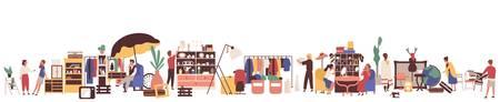Illustrazione di vettore piatto mercato delle pulci. Clienti e venditori personaggi dei cartoni animati. Attività di vendita al dettaglio di abbigliamento e articoli vintage. Vendita garage, negozio di seconda mano. Merce e concetto di consumismo.