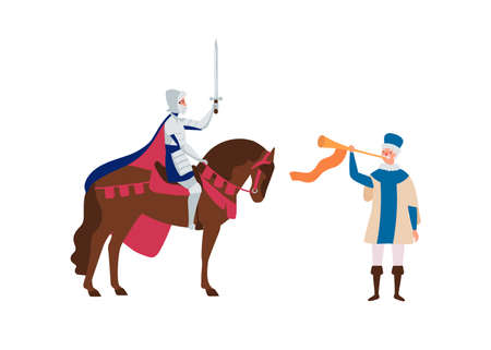 Royal herald with trumpet and knight on horse flat vector illustration. Medieval cartoon characters. Cavalier and old time messenger isolated on white. Fairytale, fantasy personages. Illustration