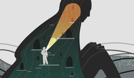 Ilustración de vector plano de atención plena y autoanálisis. Mujer con linterna buscando personaje de dibujos animados de profundidad de espíritu. Psicología positiva y autoconciencia. Psicoanálisis, concepto de psicoterapia. Ilustración de vector