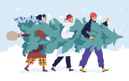 Happy friends carrying Christmas tree flat vector illustration. Merry people with fir tree outdoors. Traditional Xmas shopping. Festive market. Winter season holiday preparation concept. Ilustração