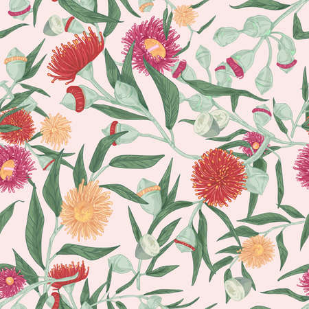 Blooming eucalyptus vector seamless pattern. Gum-tree stems and burgeons colorful texture. Exotic evergreen blossoming plant drawing. Fabric, textile, wallpaper, wrapping paper design. Ilustrace