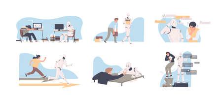 Robot versus conjunto de ilustración de vector plano humano. Hombre compitiendo con la colección de personajes de dibujos animados de cyborg. Humanoide vs persona. Empleado desafiante de inteligencia artificial. Tecnología de IA moderna.