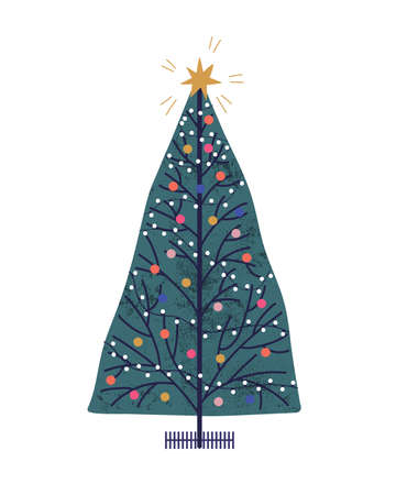 Christmas tree hand drawn vector illustration. New Year holiday attribute with toys and garlands. Decorated Xmas fir color drawing. Winter festive item isolated on white background.