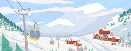 Beautiful ski resort flat vector illustration. Mountain winter landscape with chairlift for downhill skiing, snowboarding and extreme sports. Seasonal recreation spot. Active lifestyle concept. Ilustração