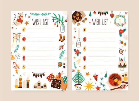 Christmas wish list hand drawn vector illustration. Blank want lists with doodle frame. Xmas letters to Santa Claus with place for text. Traditional winter holiday message. New Year celebration.