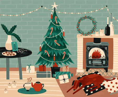 New Year celebration preparation vector illustration. Christmas festive atmosphere. Home coziness, Xmas celebration. Decorated Christmas tree and fireplace in room. Winter holidays attributes. Ilustração
