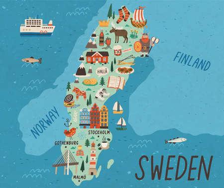 Kulturelle Karte von Schweden flache Vektorillustration. Traditionelle Wahrzeichen und Touristenattraktionen des europäischen Landes. EU-Staat Cartoon-Zeichnung. Reiseführer mit berühmten Sehenswürdigkeiten und Tieren.