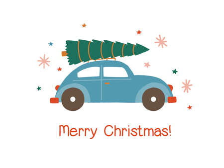 Car with Christmas tree flat vector illustration. Automobile carrying special Xmas delivery isolated on white background. Winter holiday market. Festive holiday greeting card, postcard design element.