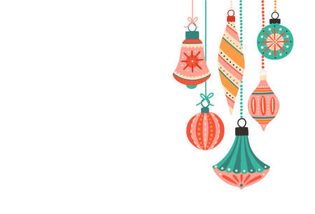 Beautiful Christmas tree decorations flat vector illustration. Xmas backdrop with place for text. Winter holiday decor isolated on white background. New Year greeting card, postcard design element.