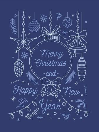 Merry Christmas and Happy New Year greeting card vector template. Traditional festive attributes. Winter holidays congratulation. New Year tree linear toys. Xmas celebration. Postcard design.