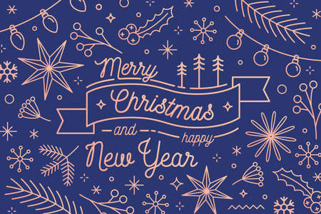 Merry Christmas and Happy New Year greeting card vector template. Traditional festive congratulation. Winter holidays attributes. Fir branches and garlands. Xmas items postcard design. Ilustração