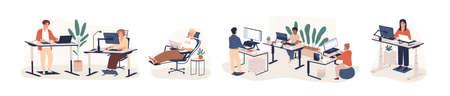 Zestaw ilustracji wektorowych płaski współczesny obszar roboczy. Pracownicy biurowi pracy siedzącej i stojącej za postaciami z kreskówek ergonomicznych mebli na białym tle. Obszar coworkingowy typu openspace.