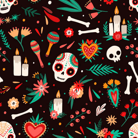 Day of dead seamless pattern. Decorated sugar skulls, maraca shakers, flowers and candles backdrop. Mexican traditional holiday decorative background. Festive wrapping paper design.