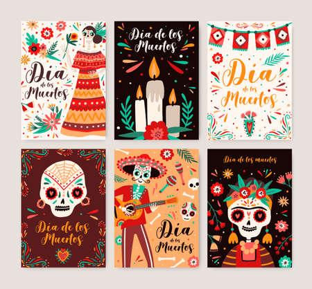 Dia de los muertos posters templates set. Catrina symbol in national dress. Cartoon human skeleton with sombrero and guitar. Traditional mexican festival. Day of dead carnival greeting cards bundle. Vektoros illusztráció
