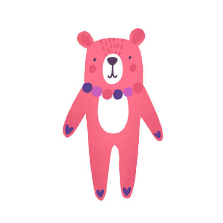 Teddy bear flat vector illustration. Cute pink animal cartoon character. Childish soft toy. Girl plaything. Toy for children. Colorful kid bear with necklace isolated on white background. Illustration