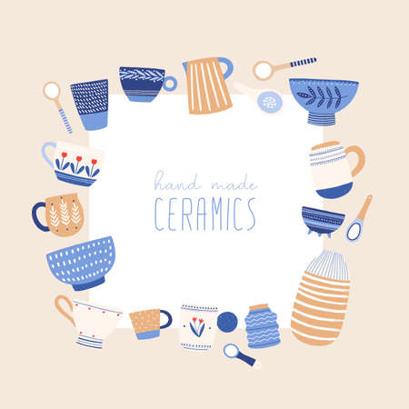 Handmade ceramics flat vector illustration. Handicraft pottery social media banner design with place for text. Beautiful decorative crockery in cartoon style. Faience dishware. Porcelain tableware. Vector Illustratie