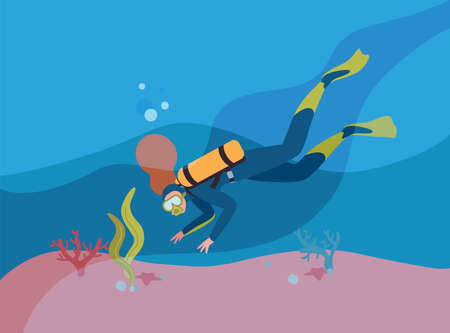 Scuba diver in wetsuit with oxygen cylinder flat vector illustration. Woman snorkeling underwater cartoon character. Person exploring ocean depths. Extreme tourism. Active lifestyle. Ilustracje wektorowe