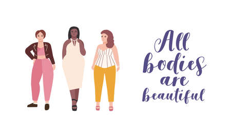 All bodies are beautiful flat illustration. Plus size models cartoon characters. Body positive, feminism, self-acceptance concept. Lady natural beauty. Self-confident women lifestyle.