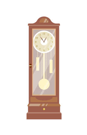 Pendulum clock vector illustration. Vintage timepiece colorful flat design element. Old-fashioned chimes, retro interior item. Antiquarian wooden watch isolated on white background.