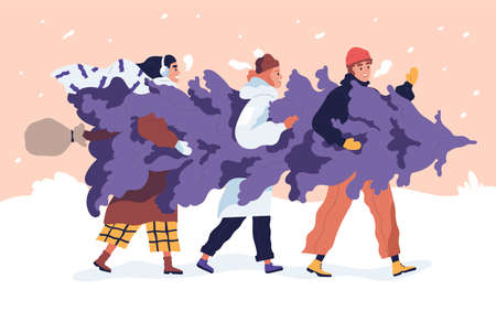 Happy friends carrying Christmas tree on the snowy street. Young man and women holding fir together. People dressed in winter clothes preparing for New Year. Vector illustration in flat cartoon style.