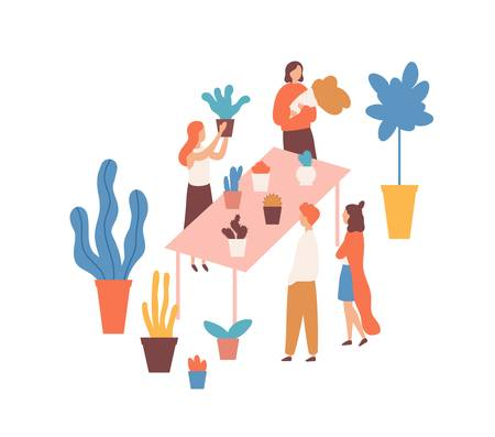 Flea market, flower fair flat vector illustration. Female sellers and buyers cartoon characters. Houseplants market. Plants assortment, greenery, bargain, cheap herbs. Bazaar, trade place. Stock fotó - 134323507