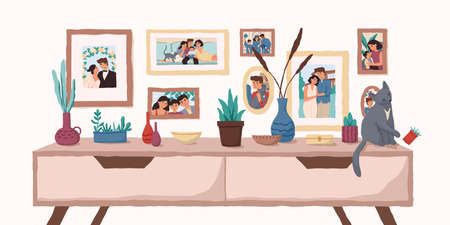 Family portraits on wall flat vector illustration. Important events memorable photographs in home interior. Life moments captured on pictures. Family values, happy memories concept. Stock fotó - 134323518