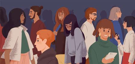 Ragazza triste nell'illustrazione piana di vettore della folla. Burnout emotivo, depressione e concetto di affaticamento. Giovane donna oberata di lavoro che si sente esausta personaggio dei cartoni animati. Disturbo psicologico, idea di apatia. Vettoriali