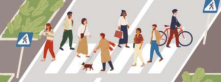 Les gens à l'illustration vectorielle plate du passage pour piétons. Concept de mode de vie urbain. Des piétons masculins et féminins traversant des personnages de dessins animés de rue de la ville. Membres de la communauté multiethnique. Idée d'heure de pointe.