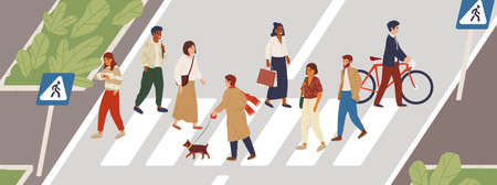 People at crosswalk flat vector illustration. Urban lifestyle concept. Male and female pedestrians crossing city street cartoon characters. Multiethnic community members. Rush hour idea. Stock Illustratie