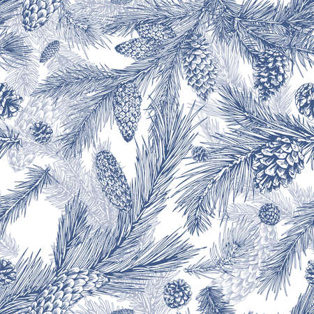 Hand drawn seamless pattern with fir, pine, cedar branches and cones. Detailed realistic background with evergreen conifer plant. Monochrome botanical backdrop with spruce. Vector illustration. Vektorové ilustrace