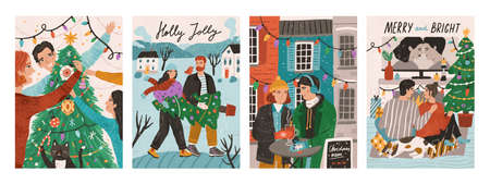 Set of postcards with people celebrating winter holidays. Happy family decorating christmas tree. Couple carrying fir. Man and woman in the street cafe. Couple relaxing at home. Vector illustration. Stock Illustratie