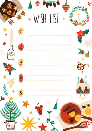 New Year wish list vector illustration. Decorated scrapbook sheet page. Childish letter to Santa Claus design idea. Christmas holiday items design elements isolated on white background. Imagens - 134323591
