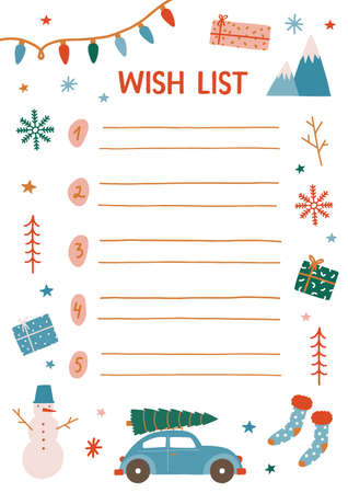 Christmas wish list vector illustration. Decorated notebook sheet page with empty lines. Childish Xmas expectations. New Year holiday items design elements isolated on white background. Imagens - 134323601