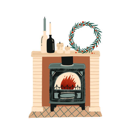 Fireplace with Christmas decorations flat vector illustration. New Year festive atmosphere. Home coziness. Decorated Xmas mantelpiece, room interior item. Winter holidays attributes. Imagens - 134323623