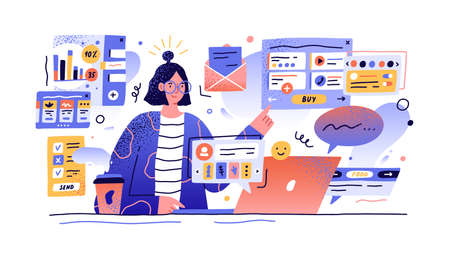 Content manager at work hand drawn illustration. Female multitasking skill concept. Young girl managing SMM strategy processes cartoon character. Freelance worker busy with email marketing analysis. 일러스트