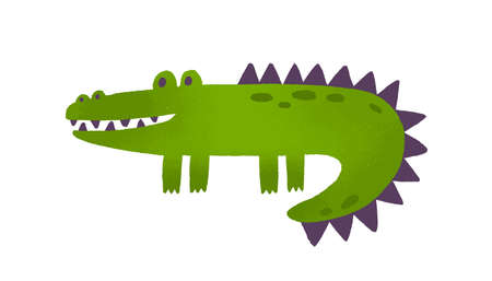 Soft toy crocodile flat vector illustration. Childish plush plaything. Smiling alligator, green artificial reptile. Cute exotic predator, amphibian, wild animal isolated on white background.