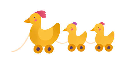 Toy hen and chicken babies vector illustration. Cute yellow animals on wheels connected with rope isolated on white background. Adorable farm bird with little chicks childish drawing.