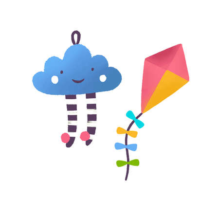 Toy cloud and kite flat vector illustration. Colorful childish playthings. Kid game attributes. Smiling cloud, multicolored baby bauble. Flying paper toys isolated on white background.  イラスト・ベクター素材