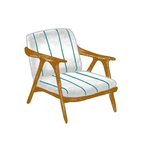 Illustration vectorielle plane fauteuil rétro. Chaise en bois vintage avec rembourrage rayé bleu isolé sur fond blanc. Meuble contemporain élégant. Élément de design de décoration à la mode.
