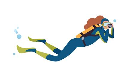 Swimming scuba diver flat vector illustration. Female diver with camera cartoon character. Woman taking pictures, photographing sea abyss. Underwater photographer isolated on white background. Иллюстрация