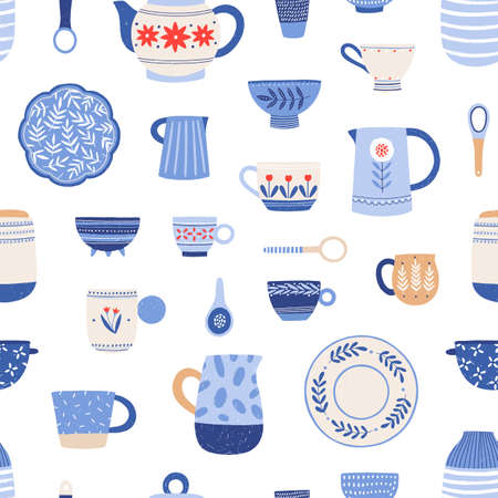 Pottery, hand painted crockery vector seamless pattern. Clay utensil items colorful texture. Earthenware in rustic style drawing. Creative fabric, textile, wallpaper, wrapping paper design. Stock fotó - 134323814