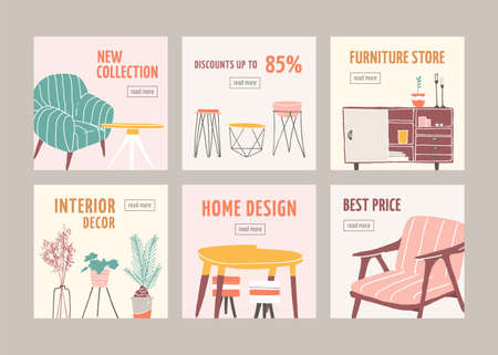 Interior decor sale web banner templates set. Home furnishing accessories discount offers collection. Decorative houseplants special price ads pack. Furniture store sellout advertisement layouts.