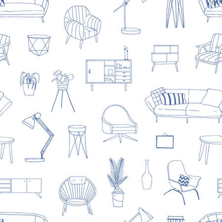 Home furniture hand drawn vector seamless pattern. Modern house furnishing accessories decorative background. Vintage armchair and table lamp linear illustrations. Stylish wrapping paper design. Stock fotó - 134323826